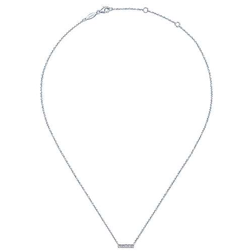 14K White Gold Milgrain Diamond Bar Necklace