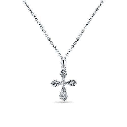 14K White Gold Millgrain Diamond Cross Pendant Necklace