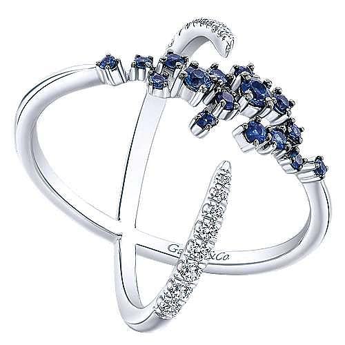 14K White Gold Modern Scattered Sapphire & Diamond Ring