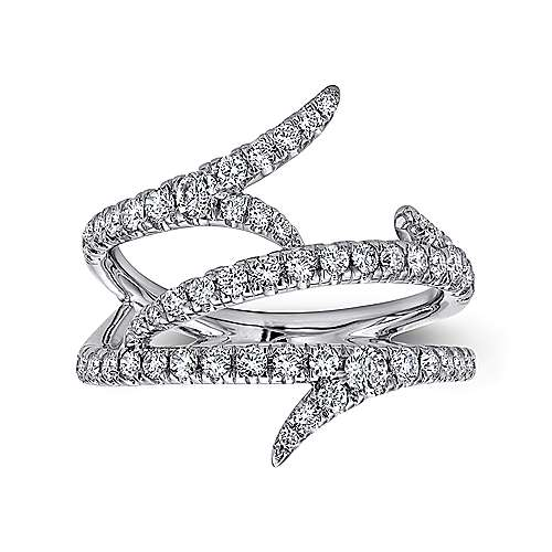 14K White Gold Multi Row Diamond Branch Ring