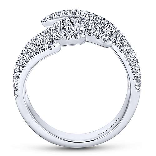 14K White Gold Multi Row Diamond Fan Ring