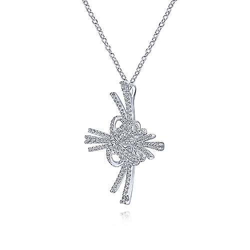 14K White Gold Multi Row Diamond Pavé Burst Pendant Necklace