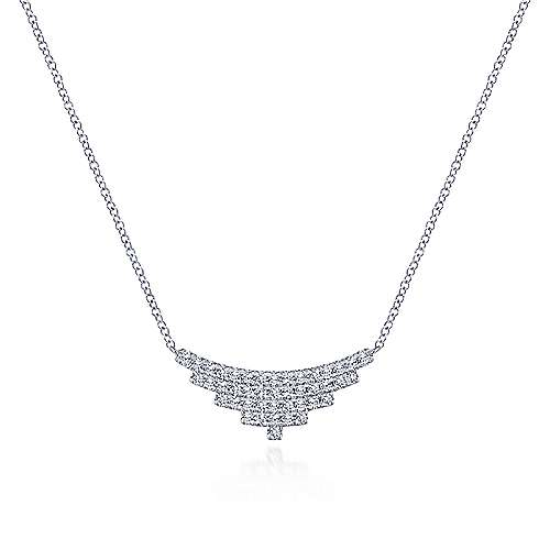 14K White Gold Multi Row Diamond Pendant Necklace