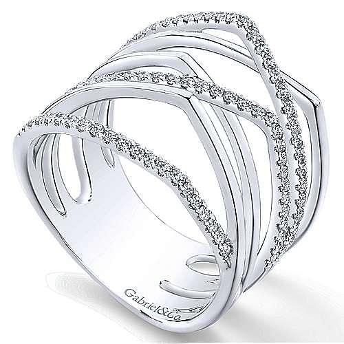 14K White Gold Multi Row Diamond Wide Band
