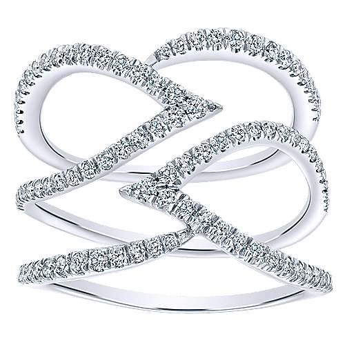 14K White Gold Multi Row Layered Open Diamond Ring