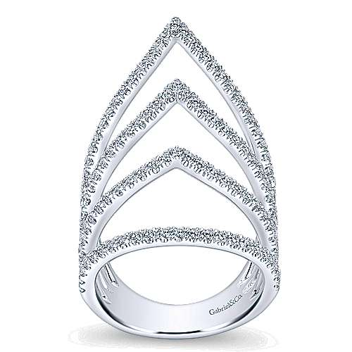 14K White Gold Multi Row Open Graduating Teardrops Diamond Ring