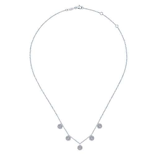 14K White Gold Necklace with Round Diamond Pavé Disc Drops