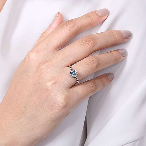 14K White Gold Octagonal Halo Aquamarine and Diamond Ring