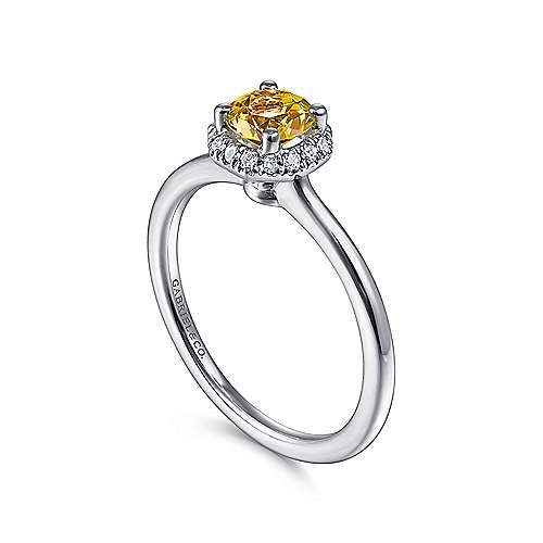 14K White Gold Octagonal Halo Citrine and Diamond Ring