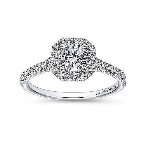 14K White Gold Octagonal Halo Complete Diamond Engagement Ring