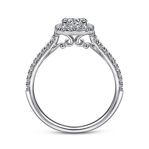 14K White Gold Octagonal Halo Round Diamond Engagement Ring