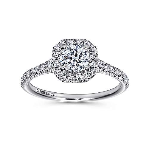 14K White Gold Octagonal Halo Round Diamond Engagement Ring
