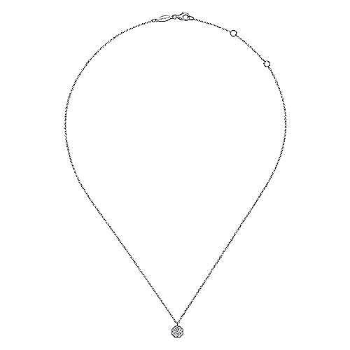 14K White Gold Octagonal Pavé Diamond Pendant Necklace