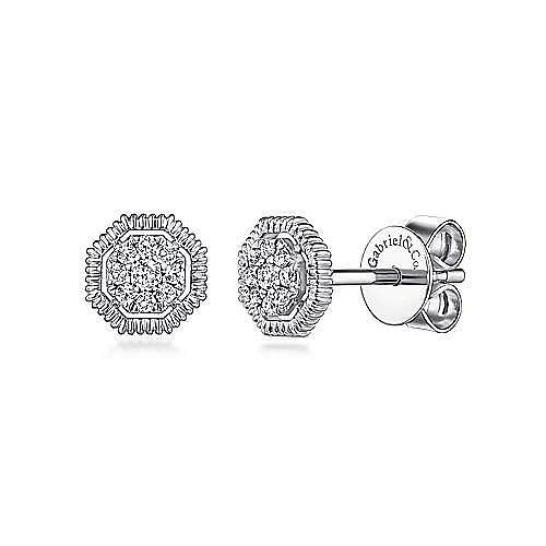 14K White Gold Octagonal Pavé Diamond Stud Earrings