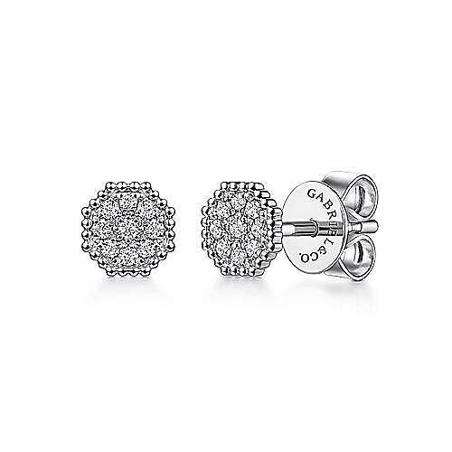 14K White Gold Octagonal Shape Diamond Pavé Stud Earrings