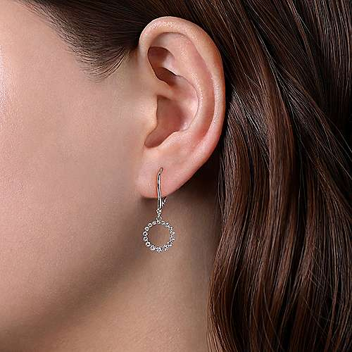 14K White Gold Open Circle Diamond Drop Earrings