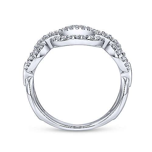 14K White Gold Open Circle Diamond Ring