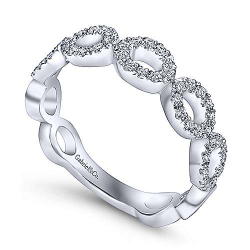 14K White Gold Open Circles Diamond Band