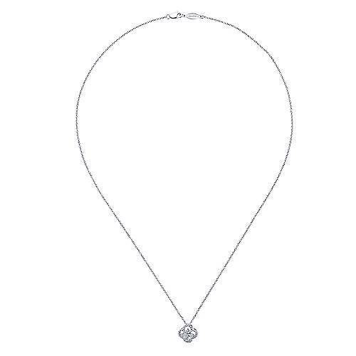14K White Gold Open Clover Diamond Pendant Necklace