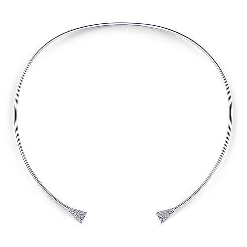 14K White Gold Open Collar Necklace with Diamond Pavé Ends