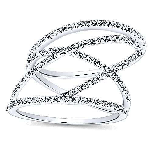 14K White Gold Open Criss Crossing Diamond Ring