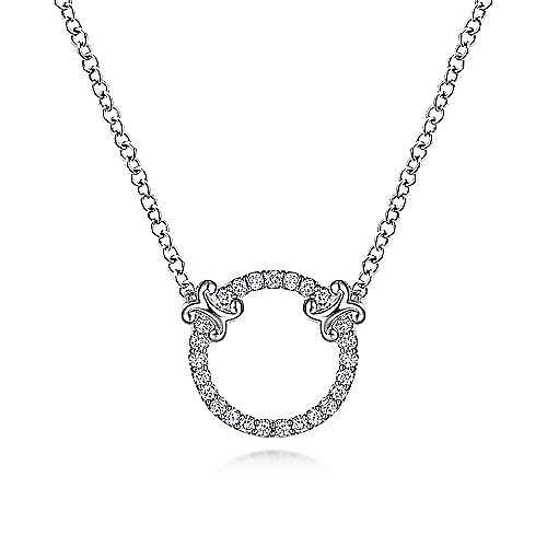 14K White Gold Open Diamond Circle Pendant Necklace