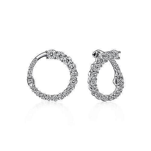 14K White Gold Open Diamond Circle Stud Earrings