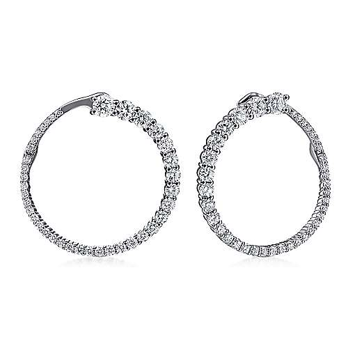 14K White Gold Open Diamond Circle Stud Earrings