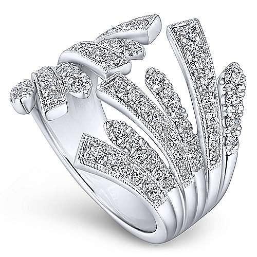 14K White Gold Open Diamond Fan Ring