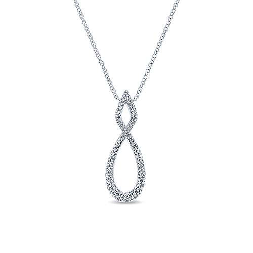 14K White Gold Open Diamond Pavé Twisted Pendant Necklace