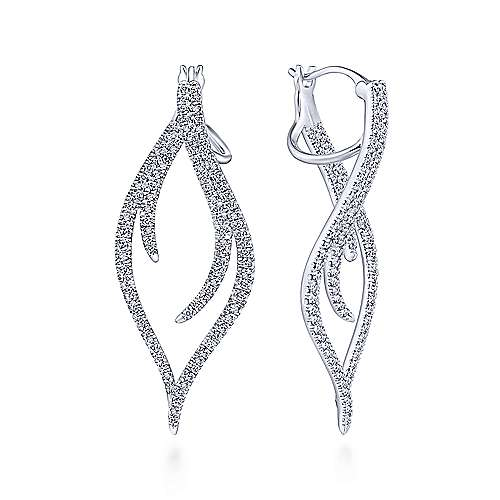 14K White Gold Open Diamond Pointed Teardrop Earrings
