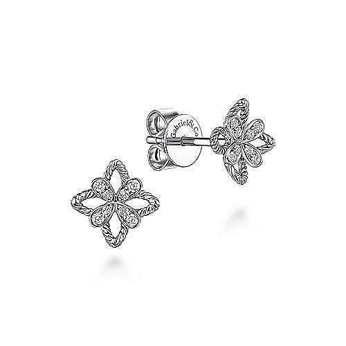 14K White Gold Open Flower Diamond Stud Earrings