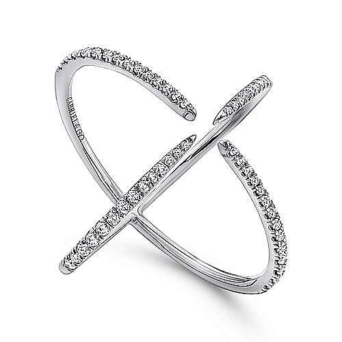 14K White Gold Open Four Point Diamond Claw Ring