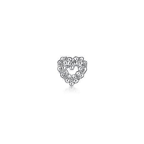 14K White Gold Open Heart Diamond Stud Single Earring