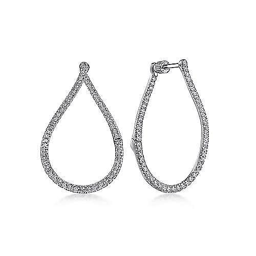 14K White Gold Open Pear Shape Huggie Earrings