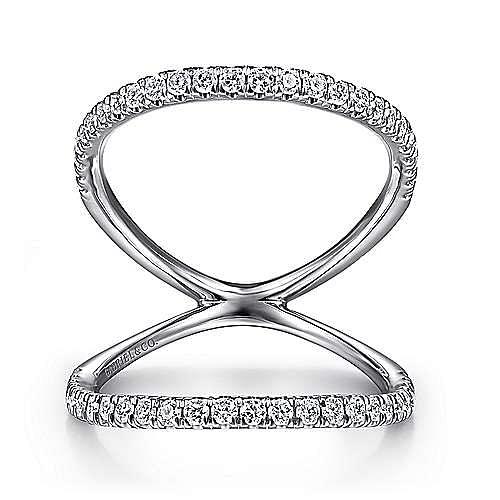 14K White Gold Open Split Shank Diamond Ring