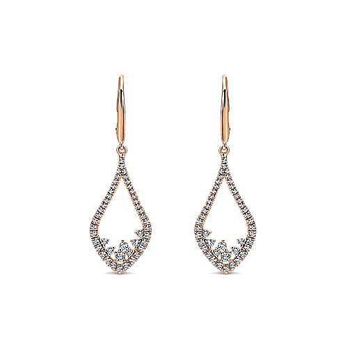 14K White Gold Open Teardrop Pavé Diamond Drop Earrings