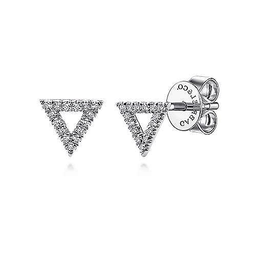 14K White Gold Open Triangle Diamond Stud Earrings