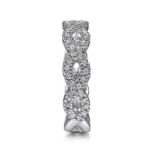 14K White Gold Open Twist Diamond Ring
