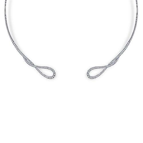 14K White Gold Open Twisted Diamond Collar Necklace