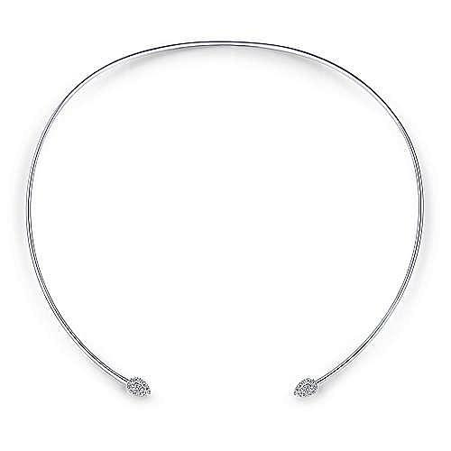 14K White Gold Open Wavy Collar Necklace with Diamond Pavé Teardrops