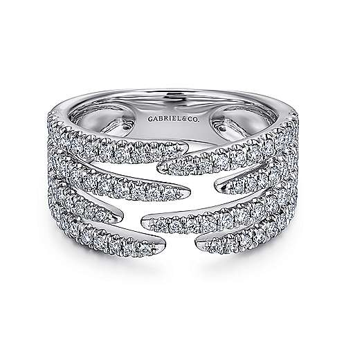 14K White Gold Open Wide Band Pavé Diamond Ring