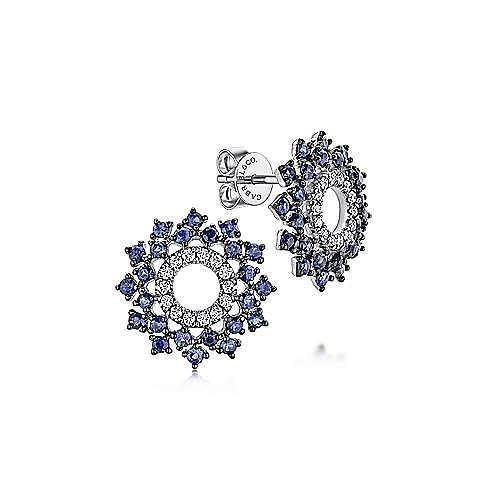 14K White Gold Openwork Diamond and Sapphire Stud Earrings