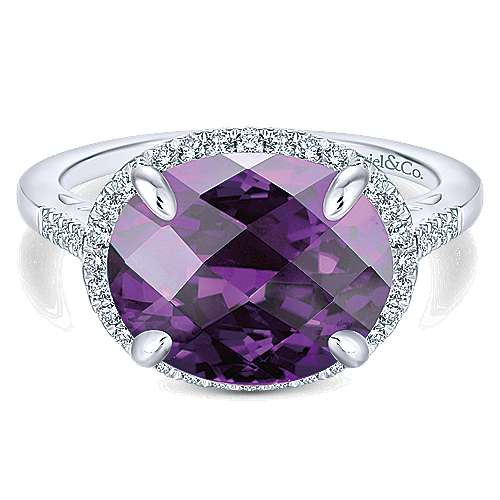 14K White Gold Oval Amethyst and Diamond Halo Ladies Ring