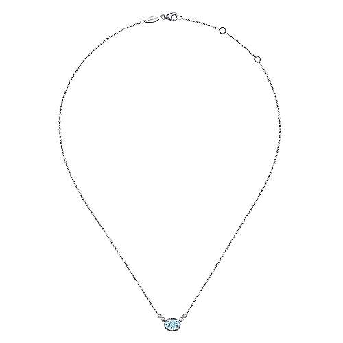 14K White Gold Oval Aquamarine Pendant Necklace with Diamond Accents