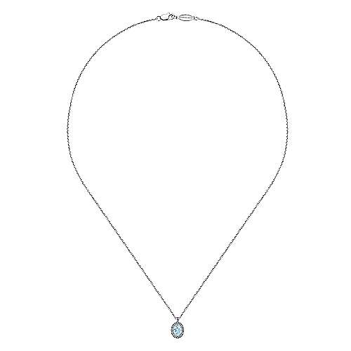 14K White Gold Oval Aquamarine and Diamond Halo Pendant Necklace
