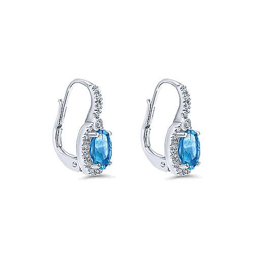 14K White Gold Oval Blue Topaz and Diamond Halo Drop Earrings