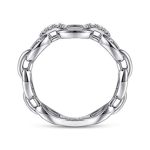 14K White Gold Oval Chain Link Diamond Ring