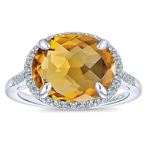 14K White Gold Oval Citrine and Diamond Halo Ring