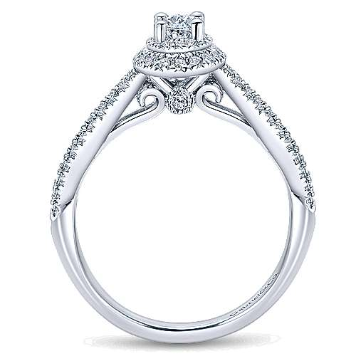 14K White Gold Oval Complete Diamond Engagement Ring